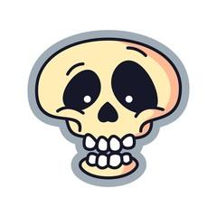 Happy Skull Cartoon Logo Vector Illustration