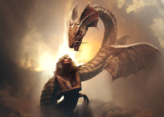 Blonde girl and dragon in fantasy world against brighr cloudy background