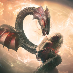 Blonde model standing with closed eyes and dragon wrapped up around her in fantasy world against bright cloudy background