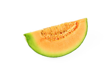 Fresh yellow melon or cantaloupe on white background
