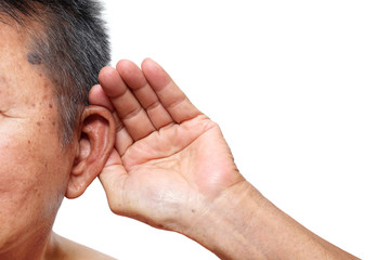 Old man paying attention to listening sound, Age-related hearing loss problem in elderly.