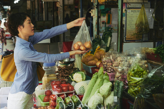 Shopping at food market