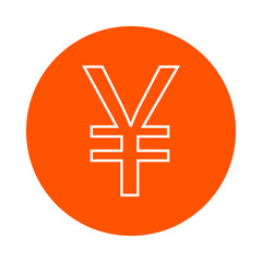 Symbol of Japanese Yen or Chinese Yuan, vector monochrome round linear icon, flat style