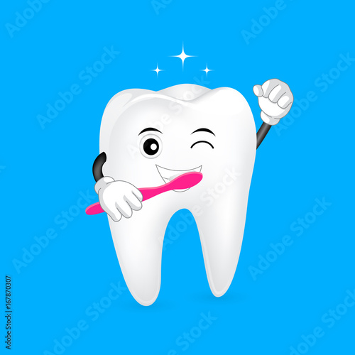 03316cfd9 cute cartoon tooth character holding toothbrush. Brush your teeth twice a  day