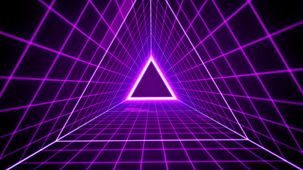 80's retro style background with triangle grid lights. Fototapete
