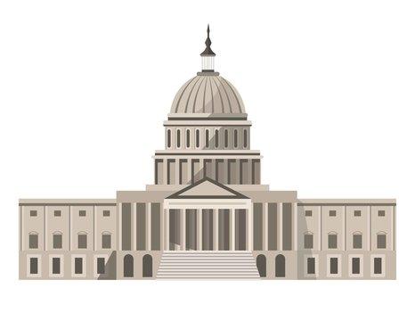 Famous United States Capitol building isolated cartoon illustration