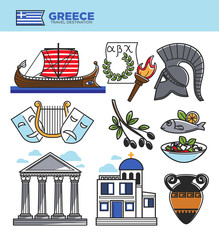 Greece travel tourism landmark symbols and Greek tourist culture attractions vector icons