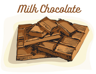 Vector image of pieces of delicious milk chocolate. Hand drawing.
