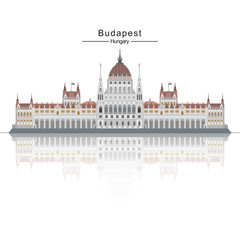 The Hungarian Parliament huge building. Architecture of Hungary.