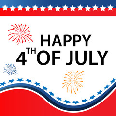 Happy Independence day USA 4 th July. Vector illustration isolated on white background.