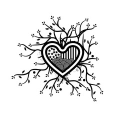 combines tree and Heart icon,  abstract heart. vector illustrator.