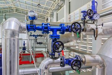 Industrial motor pump with Pressure Gauges in factory