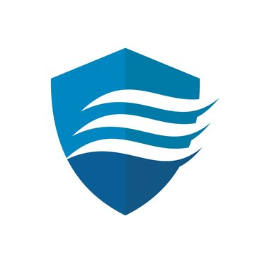 shield and flow water vector logo