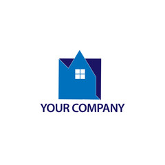 Abstract house logo - Blue house. logo vector illustration.