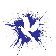 Grunge style dove. illustration vector.