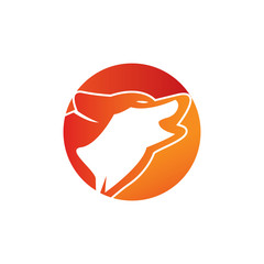 Wolf logo - Head and tail of a wolf. illustration in vector format.