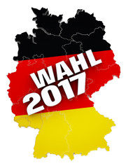 Wahl 2017 text on Germany map textured with German flag. 3D illustration