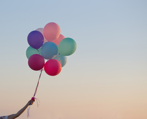balloons on background sky