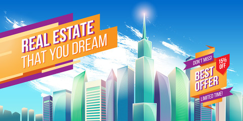 Vector cartoon illustration, banner, urban background with modern big city buildings, skyscrapers, business centers and space for your text. Advertising banner with city landscape.