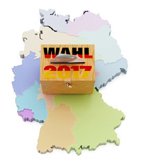 Ballot box on Germany map divided into regions. 3D illustration