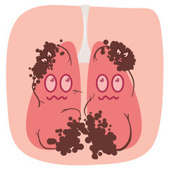 cartoon lung cancer