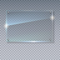 Blank, transparent vector glass plate. Vector template, mock-up banner with copy-space. Photo realistic texture with highlights and glow on the transparent. See through the plastic, 3D illustration.