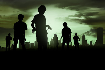 Silhoutte of zombies walking