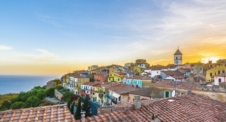 Wall Mural - View of Capoliveri village, Elba island, Tuscany.