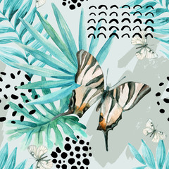 Foto op Canvas Grafische Prints Watercolor graphical illustration: exotic butterfly, tropical leaves, doodle elements on grunge background.