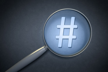 magnifying glass hashtag sign