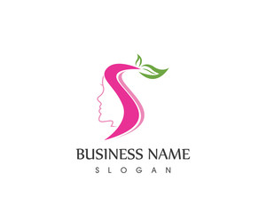 Beauty Face Woman Spa Logo Design Template