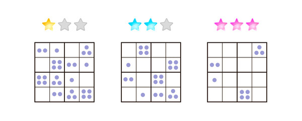 vector illustration. Sudoku for kids with pictures at different levels of complexity. Logic game for preschool children. Educational game. rebus. point.