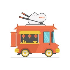chinese food truck icon vector illustration