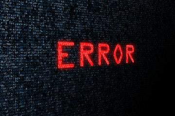 Computer digital background with concept of Internet security and bug report. Error message on source code background