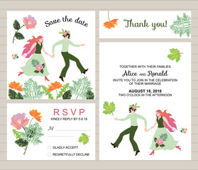 Wedding collection. Set of invitation cards with beautiful bride and groom and flowers.