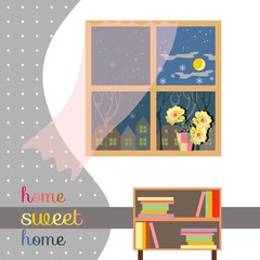 Sweet home. Cute card of interior with beautiful flowers on windowsill.