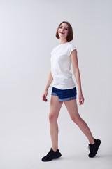 Satisfied lady posing while walking