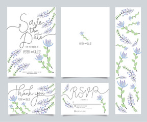 wedding invitation card template set with text