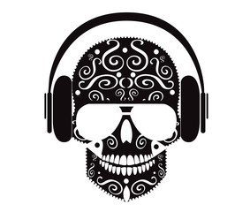 Skull icon with headphones and sunglasses vector black and white