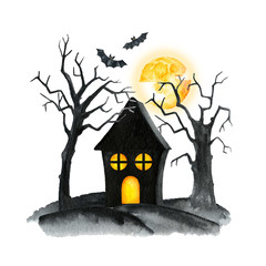 Old Cemetery Landscape. Horror night. Halloween Party Illustration. Watercolor drawing.  Cemetery with curled trees, crosses and tombstones, witch house
