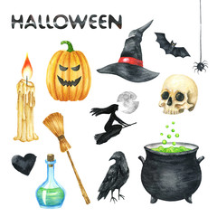 Halloween Party Illustration. Candle, Pumpkin,, Witch Hat, Bat, Scull, Black Heart, Poison Bottle, Raven, Witch Pot, Witch, Full Moon. Watercolor drawing