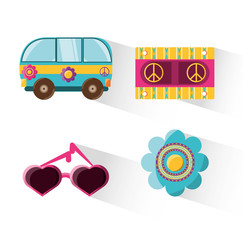 flat set icon hippie concept