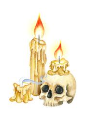 Vintage Manuscript Scroll, Burning Candles and Skull. Watercolor illustration. Horror night. Halloween Party Illustration. Watercolor drawing