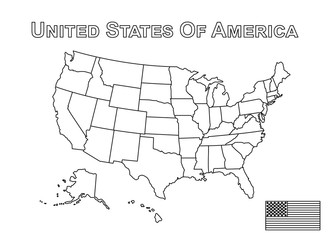 Vector of USA map and american flag . Outline style