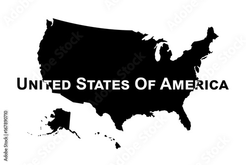 Vector of USA map . Silhouette\