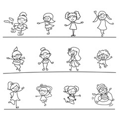 Set of hand drawing abstract happy cute girls line art