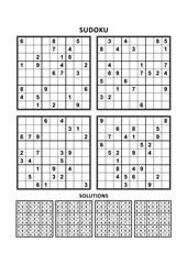 Four sudoku puzzles of comfortable (easy, yet not very easy) level, on A4 or Letter sized page with margins, suitable for large print books, answers included. Set 7.
