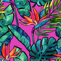 Watercolor tropical leaves and flowers with contour seamless pattern.