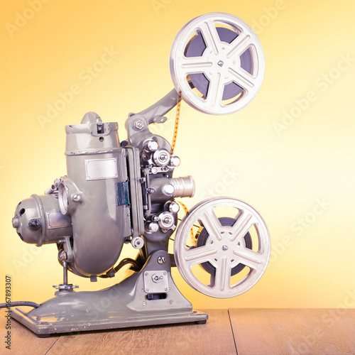 Old retro reel movie projector for cinema from 40s  Vintage style