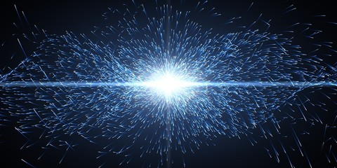 energy particles and light beam, wide format.